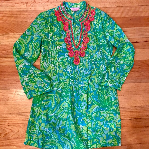 Lilly Pulitzer Tops - Lilly Pulitzer tunic with neon beading detail